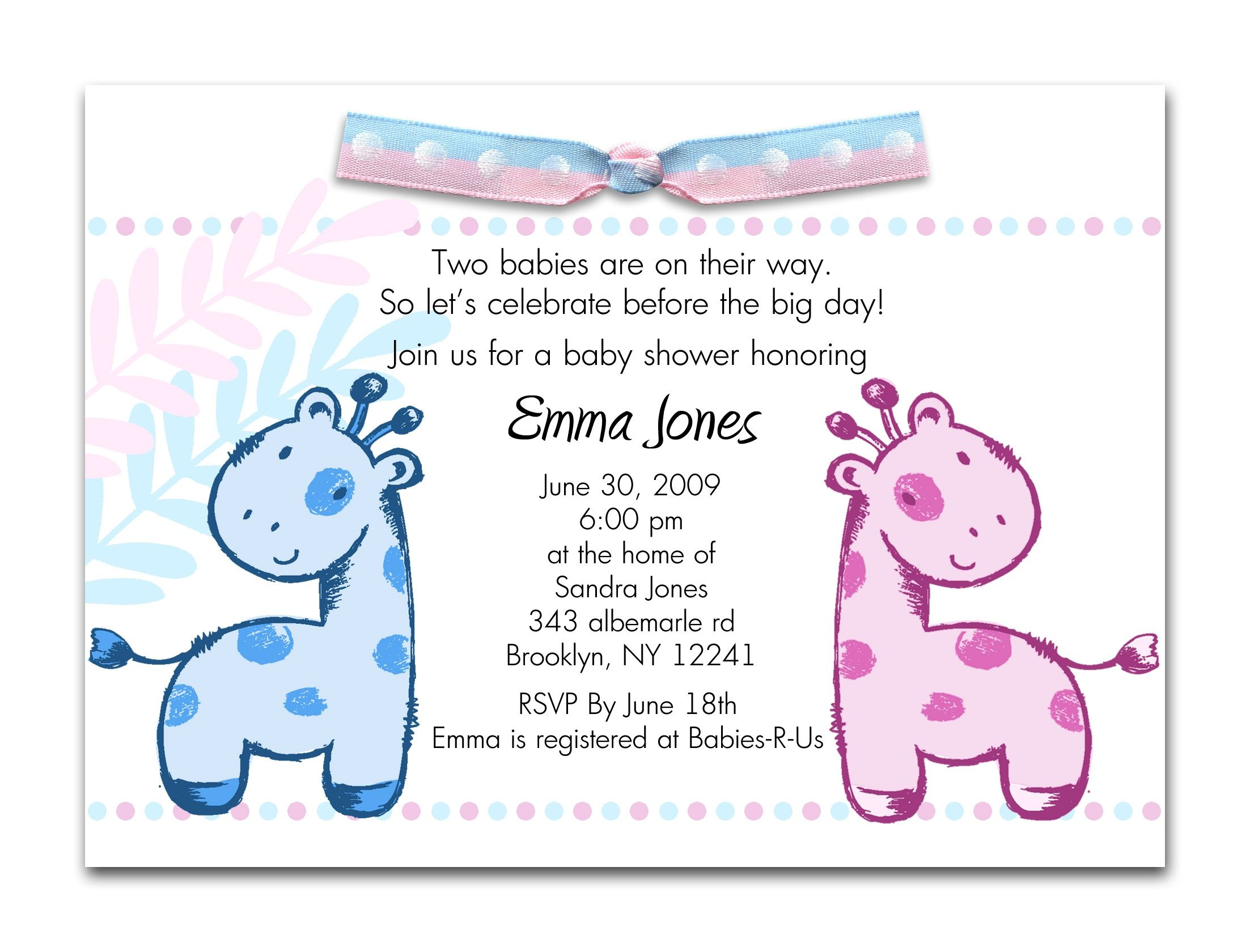 Baby Shower Invitations For Twins Templates | http://atwebry.info ...