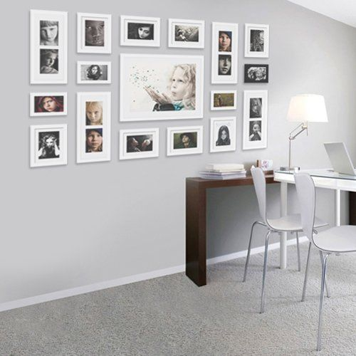 wall hanging art home decor modern gallery 17 piece wood multi piece photo frame - White Picture Frame Set