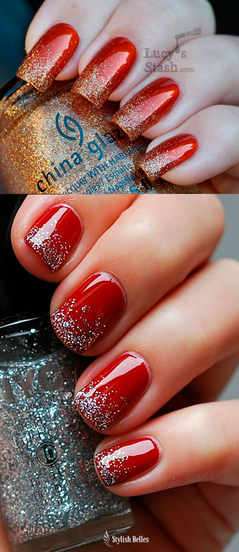 Beautiful Red And Gold Nail Designs Red And Silver Nail Design