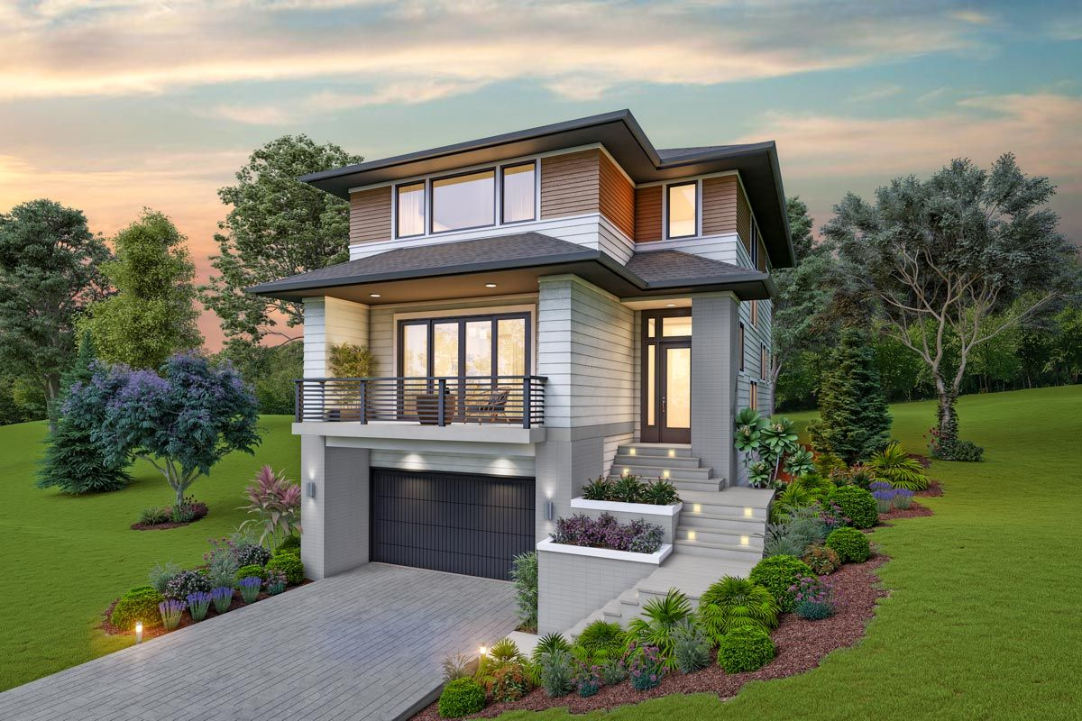 Plan 69734am Contemporary House Plan For The Up Sloping Lot Modern Style House Plans Narrow Lot House Plans Contemporary House Plans