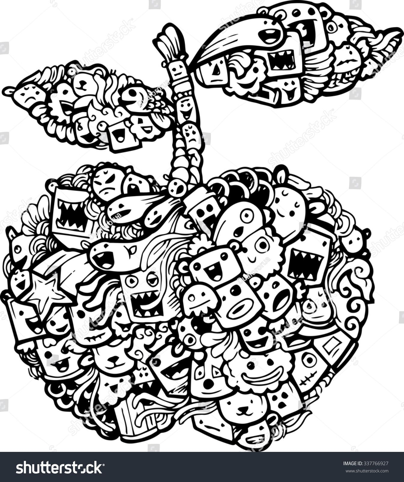 doodle apple cartoon-hand drawn illustration | Seni doodle ...