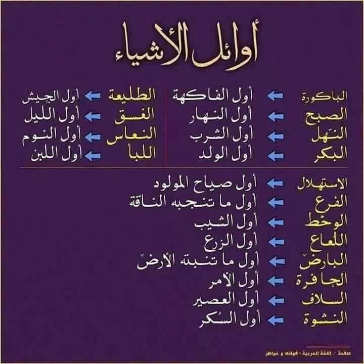 أوائل الأشياء Learn Arabic Language Learning Arabic Arabic Language