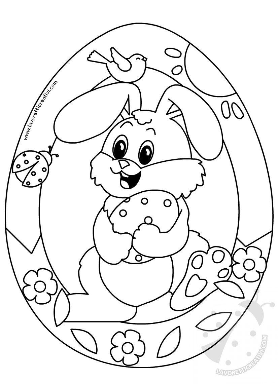 Ghirlanda di Pasqua a forma di uovo con coniglio DECORAZIONI DI PASQUA  Ghirlanda Pasquale di carta Materiale cartoncini colorati forbici colla  pennarello