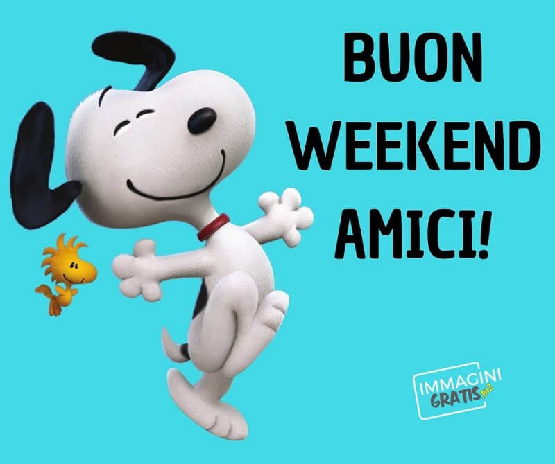Buon weekend snoopy giorno notte hello weekend for Buon weekend immagini simpatiche