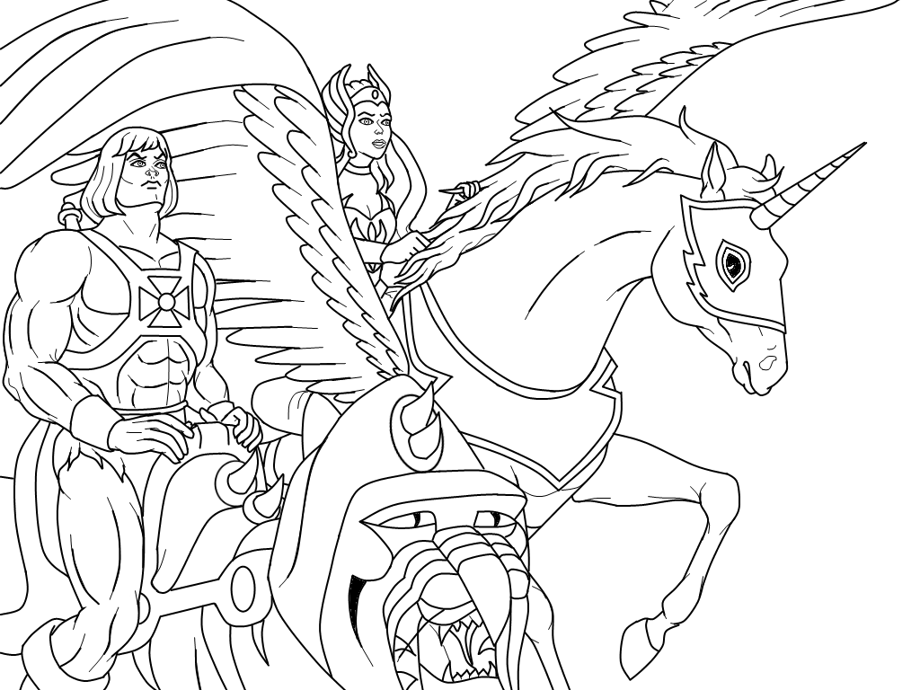 Riding Swiftwind And Battle Cat Cat Coloring Page Cartoon Coloring Pages Coloring Pages