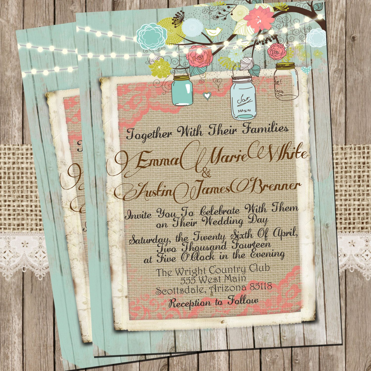 Coral And Mint Wedding Invitations: Mint And Coral Burlap And Lace Wedding By WallflowerEvents