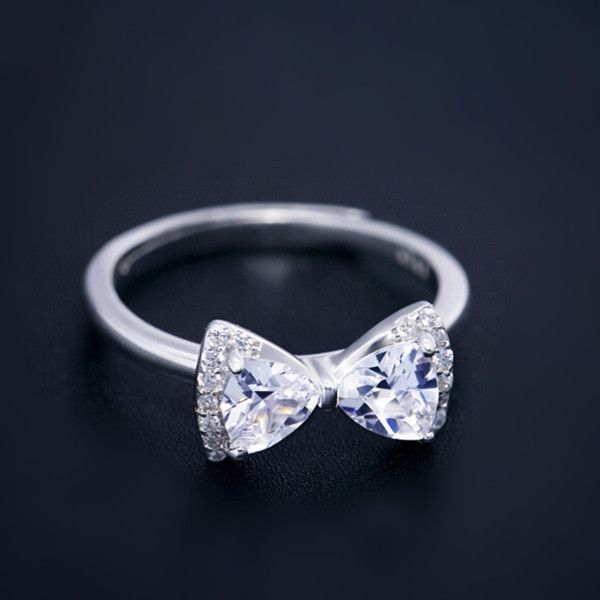 with stackable rings cubic silver zirconia bow ring