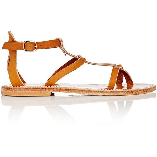 K JACQUES Women's Antioche Leather T-Strap Sandals (€230) ❤ liked on Polyvore featuring shoes, sandals, tan, leather flats, open toe flat shoes, open toe sandals, leather sole sandals and open toe flats