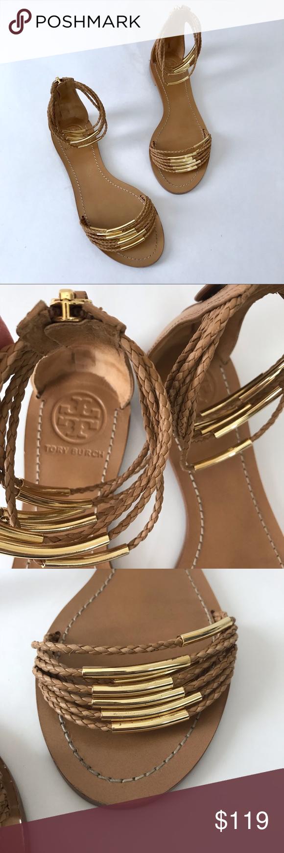 c5b6dd6cea8f Tory Burch Nude Gold Sandals Mignon Braided EUC 7 EUC - excellent used  condition. Worn