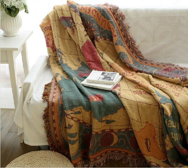 World Map Throw Timekeeperwatches - World map blanket