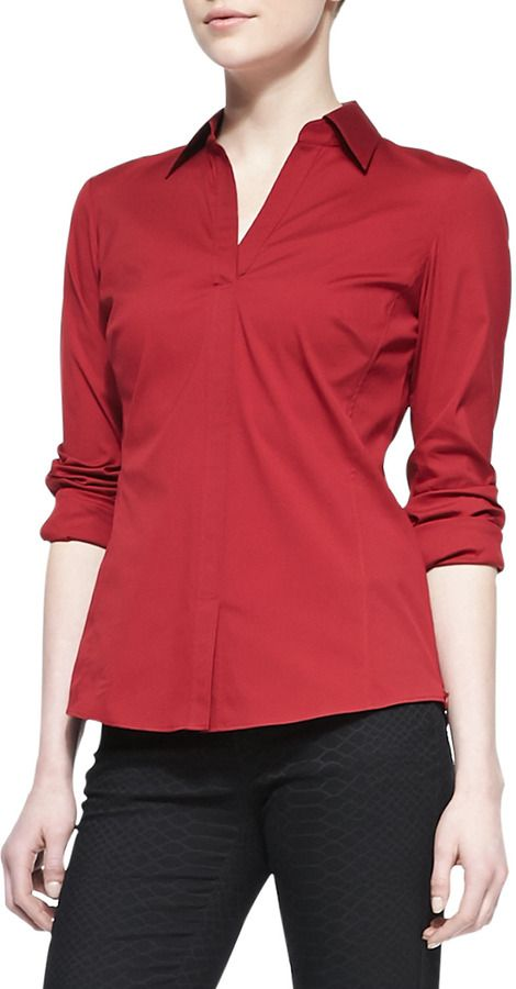 Lafayette 148 New York Katie Stretch-Poplin Blouse on shopstyle.com