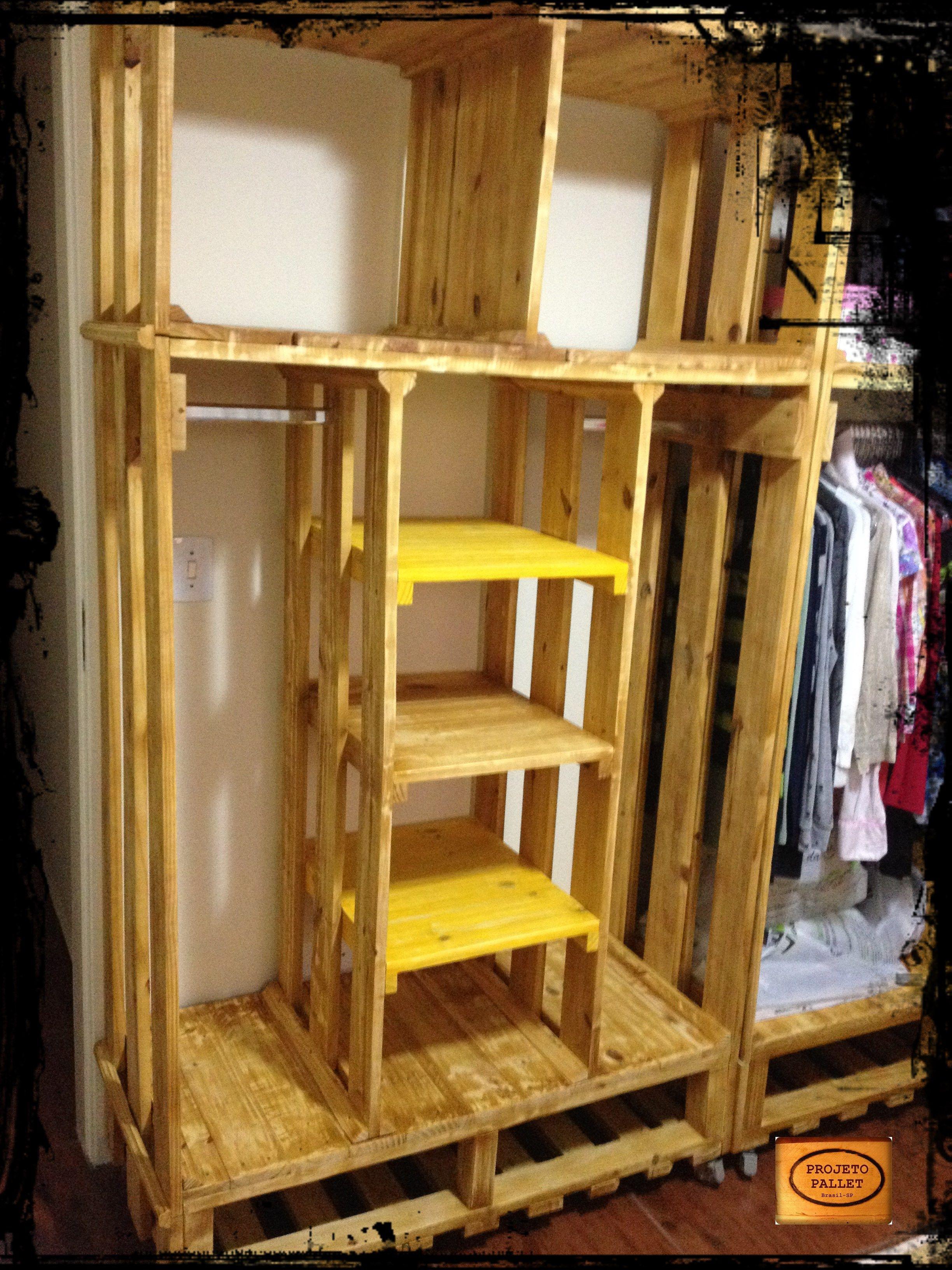 Closet Feito Em Pallet Modulo Prateleiras Closet Pinterest  ~ Prateleiras De Paletes Para Quarto