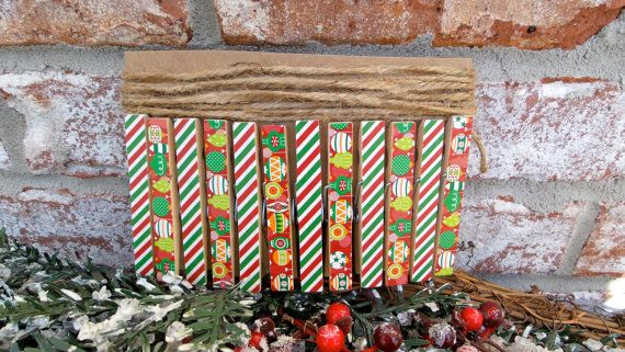 Christmas Card Holder Clothespin Kit  by PurplePirateStudios