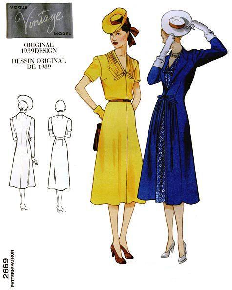 V2669 Vogue Vintage Retro Sewing Pattern Misses\' 1930s 1939 Coat ...