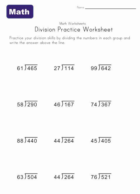 Kids Division Practice Worksheets Division Worksheets Division Practice Long Division Worksheets