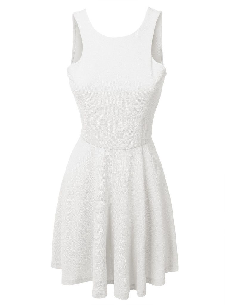 LE3NO Womens Sleeveless Skater Dress with Back Plunge Line