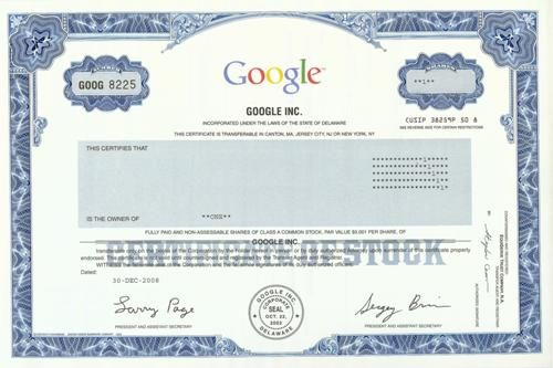 Google Stock Certificate  Scripophily  Famous Names  Stock And