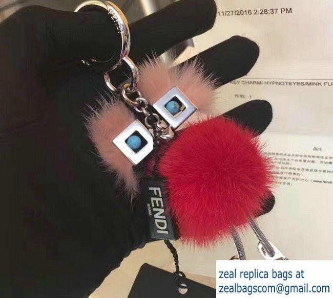 c50ae31f882c Fendi Multicolored Mink Chick Bag Charm Red Pink 2017