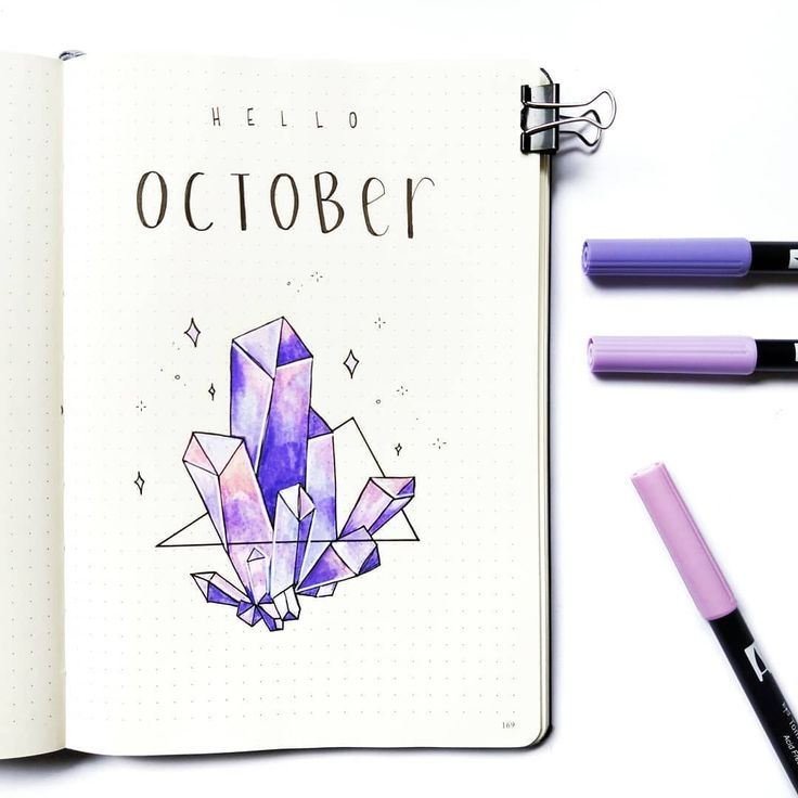 "Bujo and watercolour on Instagram: ""Hello October � This month's theme is crystals which I've been meaning to do for a while! I loved doing last months spring theme but it's…"""