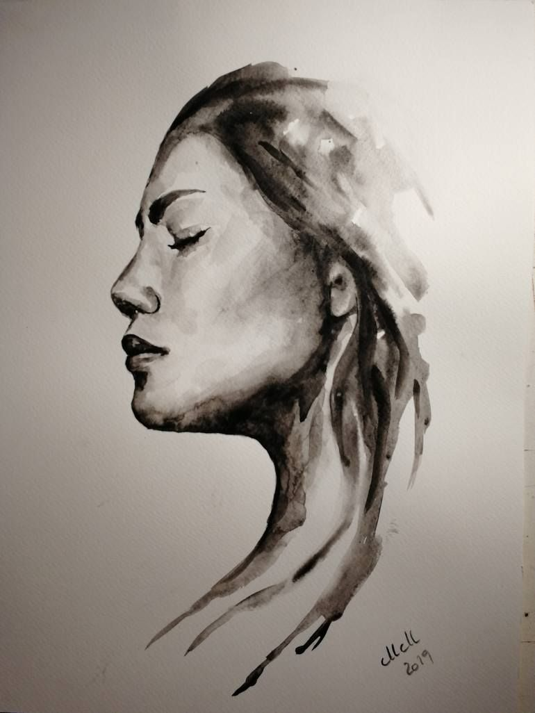 Alone Black And White Watercolor Portrait Painting Watercolor