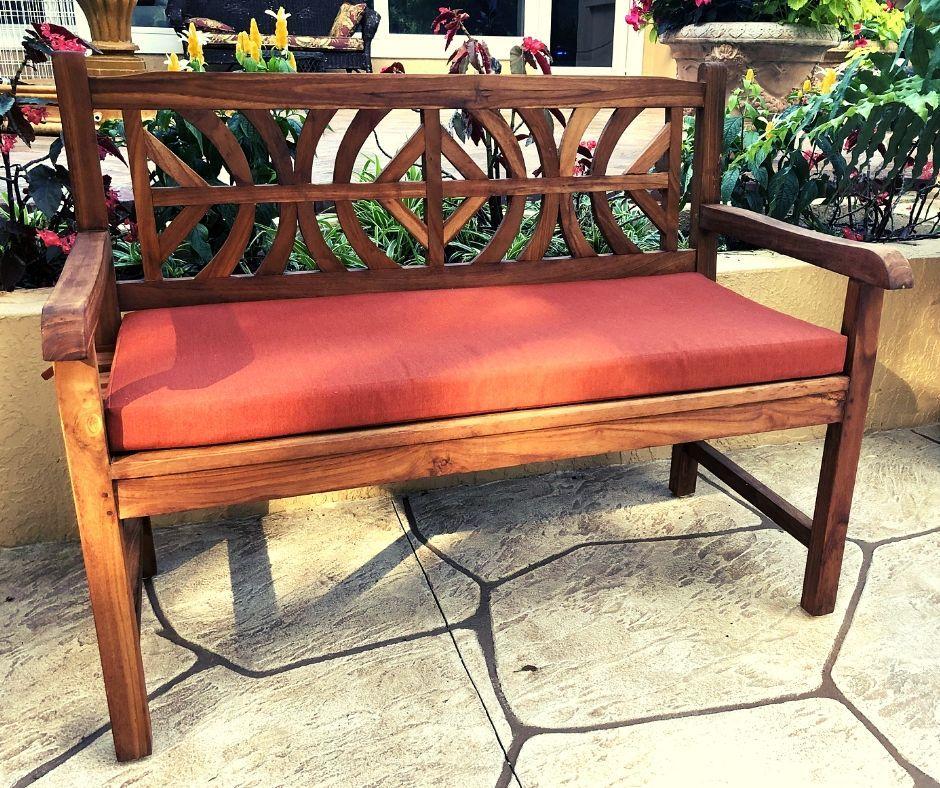 Outdoor Bench Cushion Featuring Sunbrella Canvas Brick Fabric Bench Cushions Custom Bench Cushion Outdoor Bench