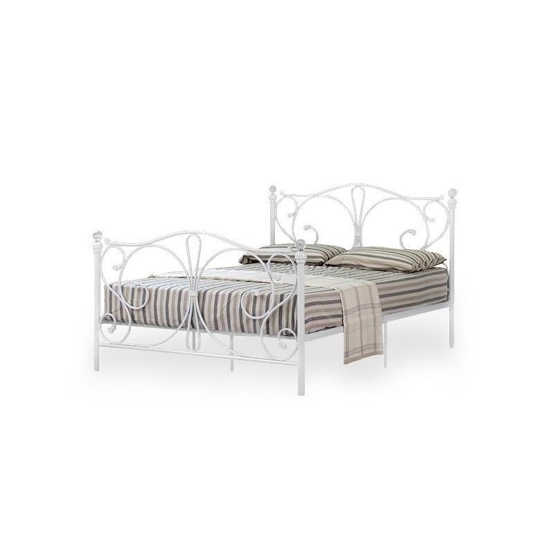 Metallbett weiß 140x200  Metallbett Ehebett Doppelbett 140x200 Ehebett Weiß mit Lattenrost ...