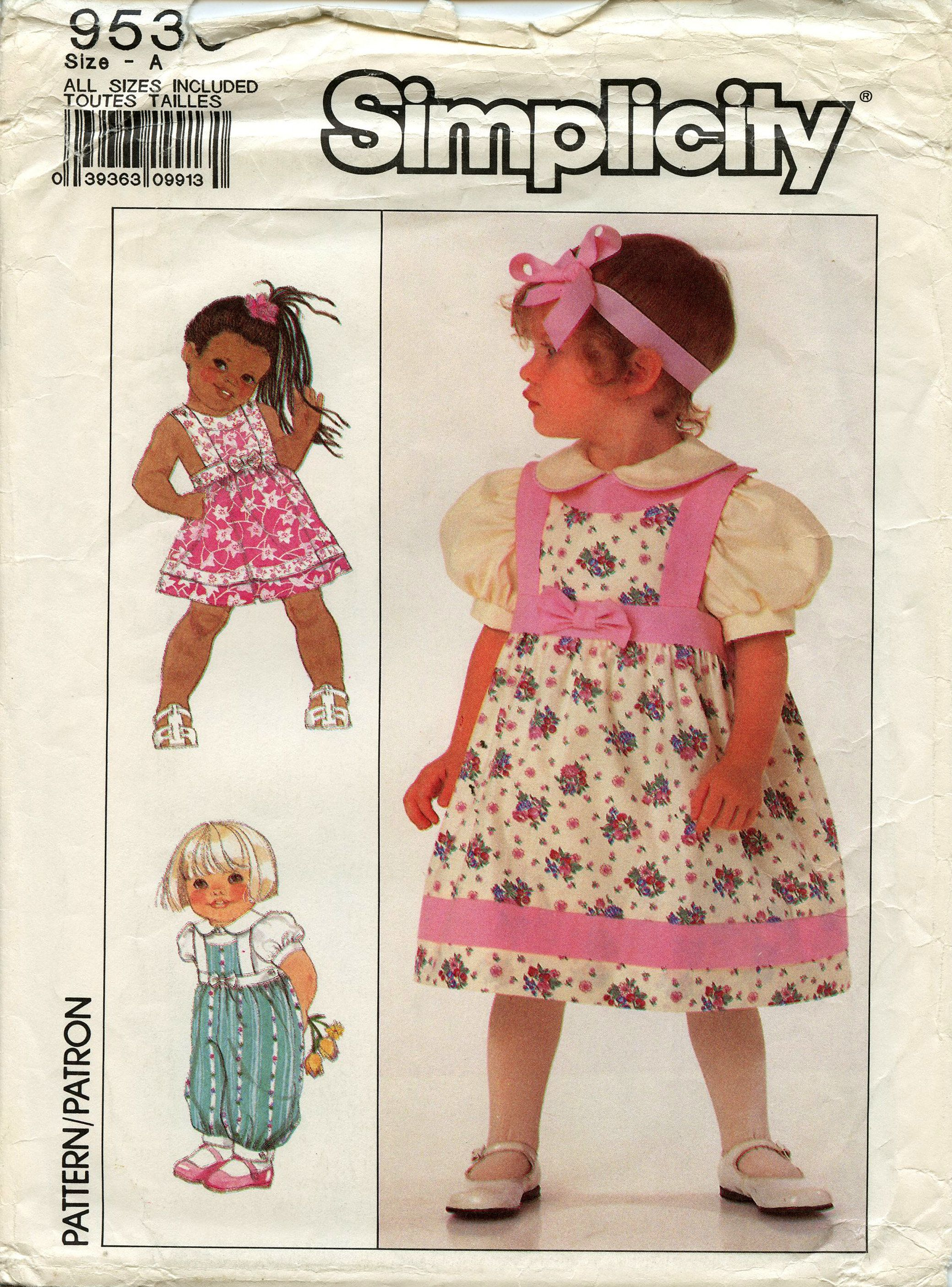 Simplicity Sewing Pattern 9536 Toddler's Sundress, Jumper, Jumpsuit and Blouse Sizes: 1/2, 1, 2, 3 Uncut