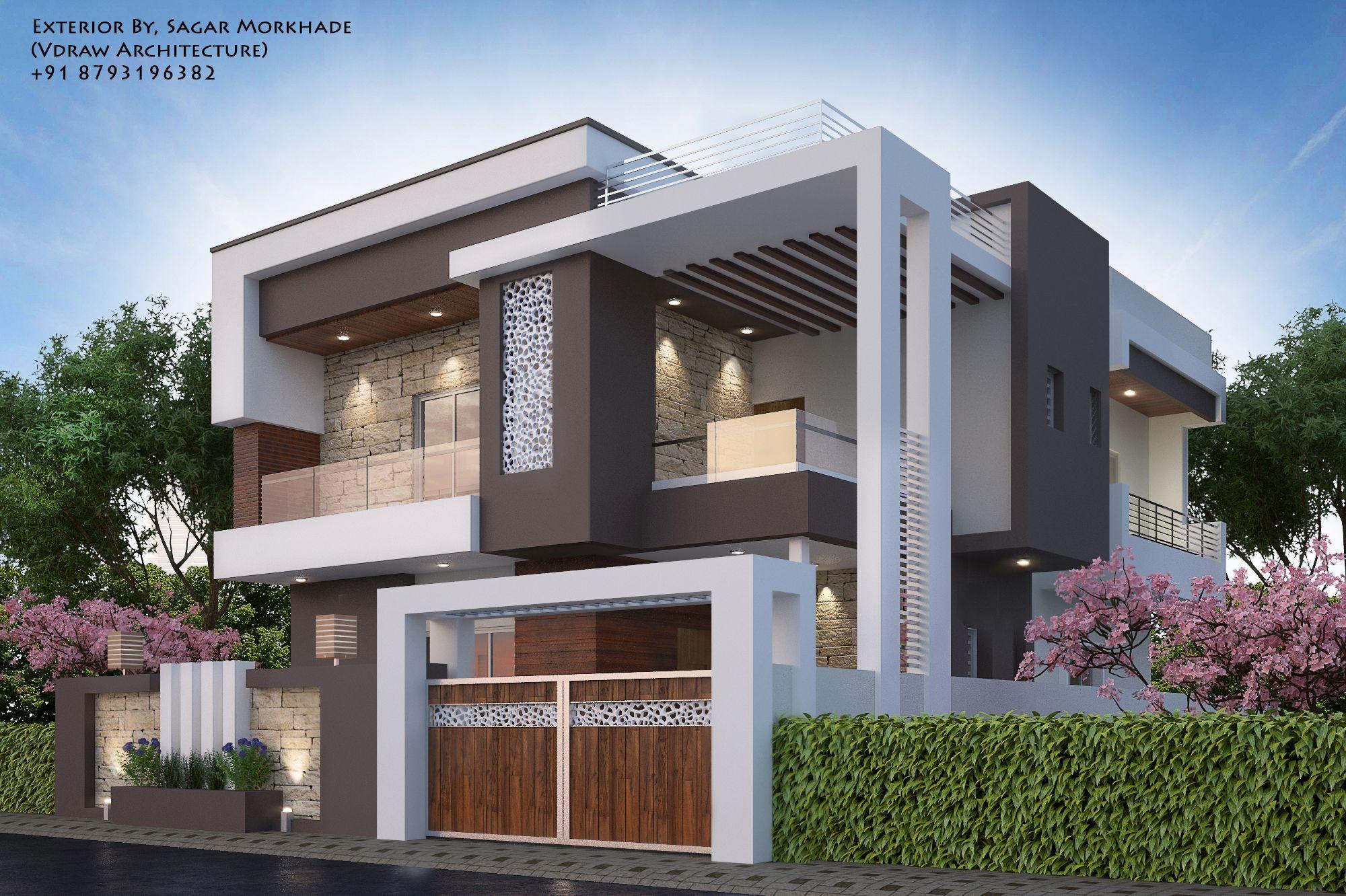 Modern House Exterior By Sagar Morkhade Vdraw Architecture 91