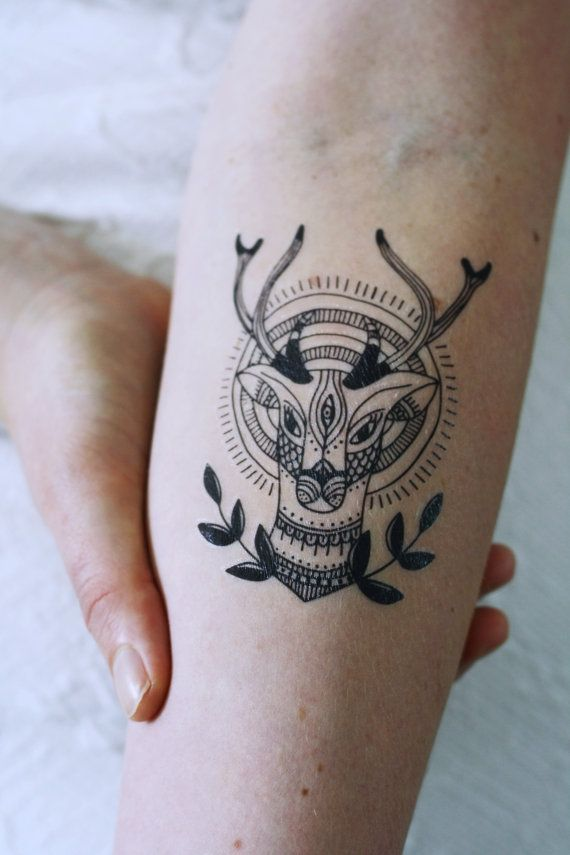 Deer tattoo / deer temporary tattoo / Hipster temporary tattoo ...