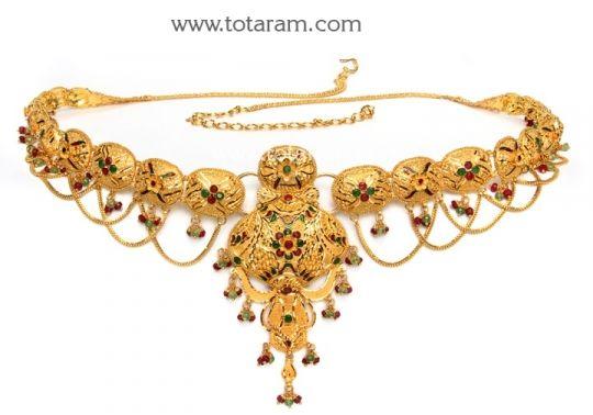 22K Gold Vaddanam cum Long Necklace Totaram Jewelers Buy Indian