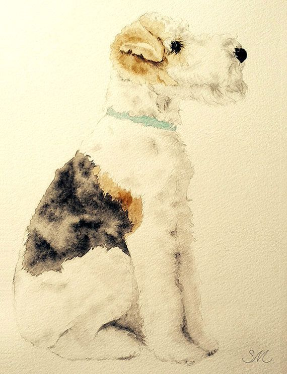 Wire Fox Terrier 5x7 print por artbysandramehl en Etsy