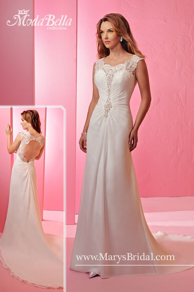 A Chiffon sheath bridal gown with scoop neckline, keyhole back, bodice featuring lace in the front and back, and the bodice is slightly gathered and secured with bead embellishment at the center front at waist level.