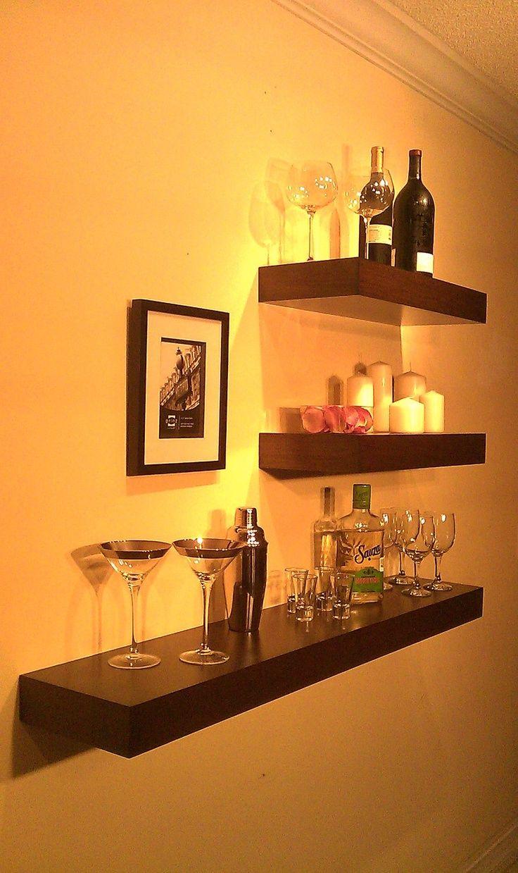 Floating Wood Shelves , Wall shelf , Walnut color 48 x 9.5 x 3 ...
