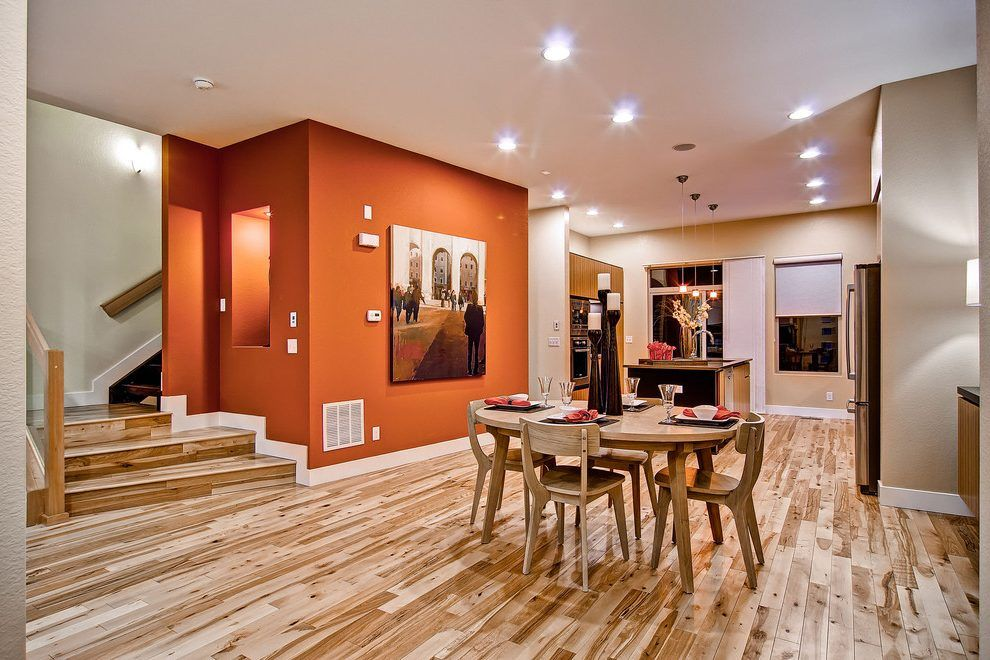burnt orange wall dining room contemporary with denver homes for