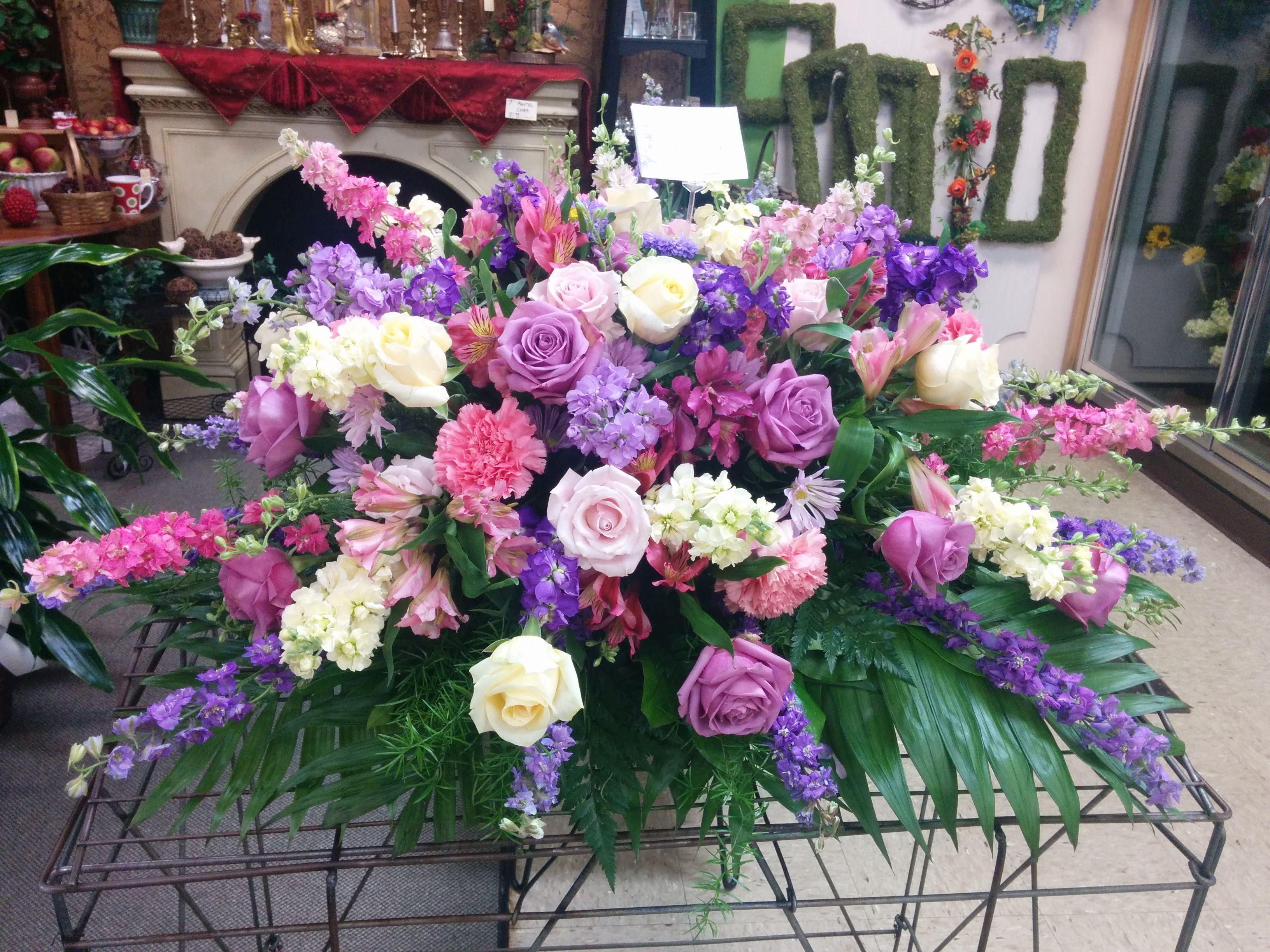 Cream, Pink, And Purple Casket Spray Church Flowersfuneral Flowersfuneral Arrangementsflower