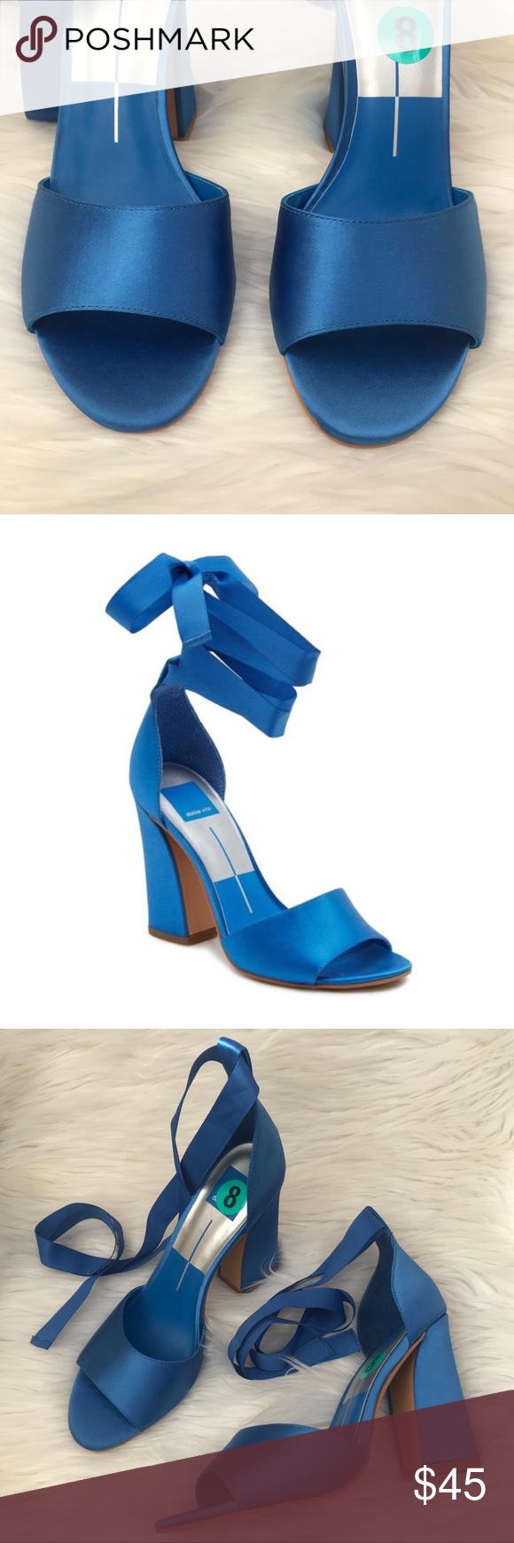 8c55d46c6b Blue Lace Up Satin Harvey Block Heel Sandal Dolce Vita Cobalt Blue Lace Up  Self Tie