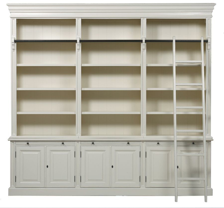 Bella House Classic 6 Door Bookcase Ladd French Modern Classic – Library Bookcase with Ladder