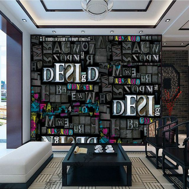 Personalized Custom Photo Wallpaper Letters Wall Mural Kid Room Decor Bedroom Bar Sitting Interior Design Gray