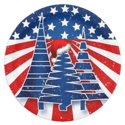 Holiday Party Patriotic Christmas Tree Theme Paper Plate - white