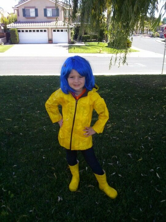 Coraline Costume Yellow Duct Tape On Thrift Store Raincoat And Rainboots Blue Leggings Blue Wig Duct Tape And Wig Blue Wig Coraline Costume Blue Leggings