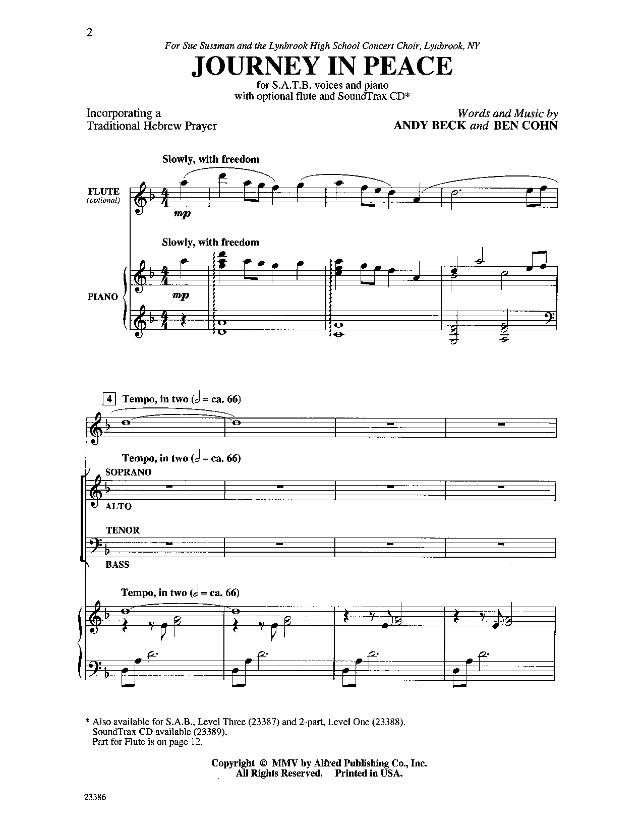 Journey In Peace Satb By Andy Beck Ben J W Pepper Sheet