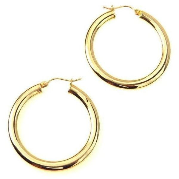10k Gold Hoop Earrings $245 ❤ liked on Polyvore featuring