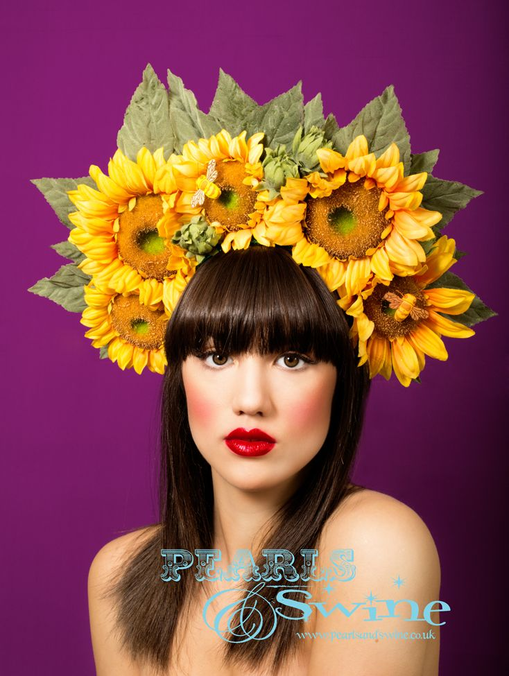 Lush Two Toned Metallic Gold Tropical Flower Showgirl/'s Cabaret Headdress