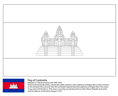 Flag Of Cambodia Coloring Page Missions Asian Flags