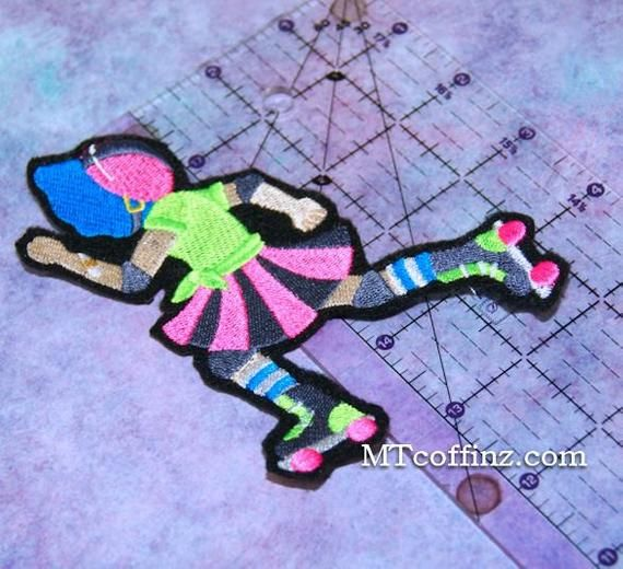 Roller Derby Girl Sun Bonnet Sue Iron On Embroidery Patch MTCoffinz