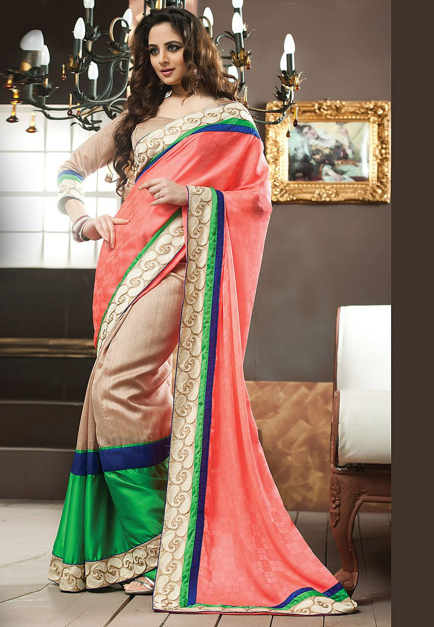 be19eeee008b22 Peach and Beige Faux Georgette and Art Silk Saree with Blouse Online  Shopping  SXZ1218