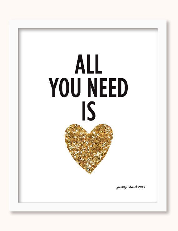All You Need Is Love Print - Gold Glitter Heart - Modern Heart ...