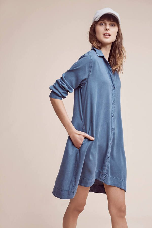 e5c694d3867f Cloth & Stone Farryn Laced-Back Shirtdress Apple Shape Fashion, Casual  Dresses, Blue