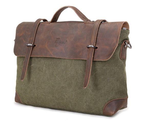 Womens Mens Vintage Canvas Leather Casual Shoulder Bag 18404