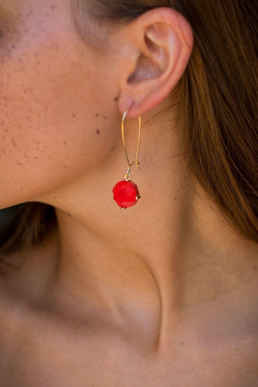 Drop Em' Earrings Red